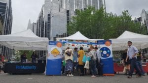 Visitors crowd Market Square for Earth Day activities