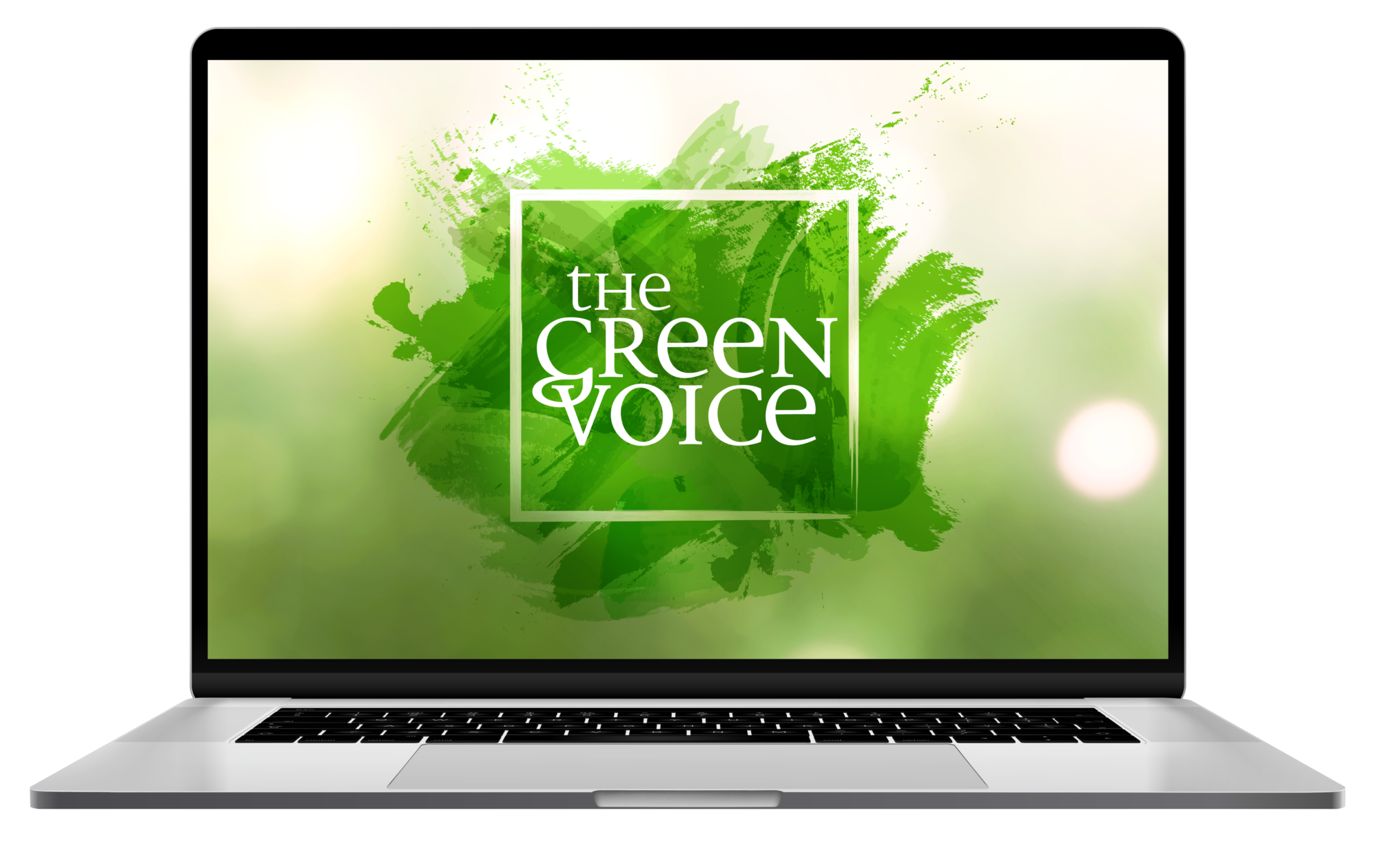 The Green Voice Logo on Laptop - Pittsburgh Earth Day weekly newsletter