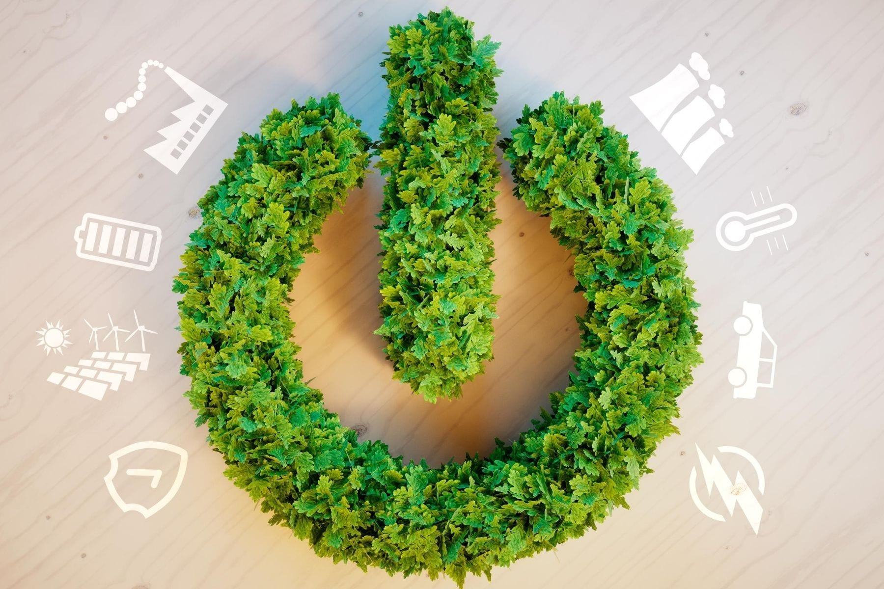 A power symbol made from leaves.