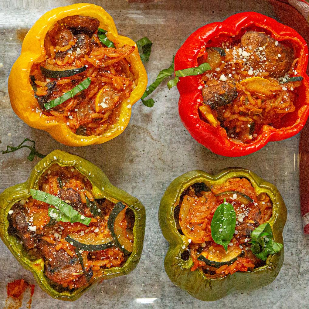 Weeknight Italian Vegan Stuffed Peppers